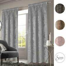 Sienna Crushed Velvet Pencil Pleat Curtains Ready Made Pair Fully Lined Tape Top