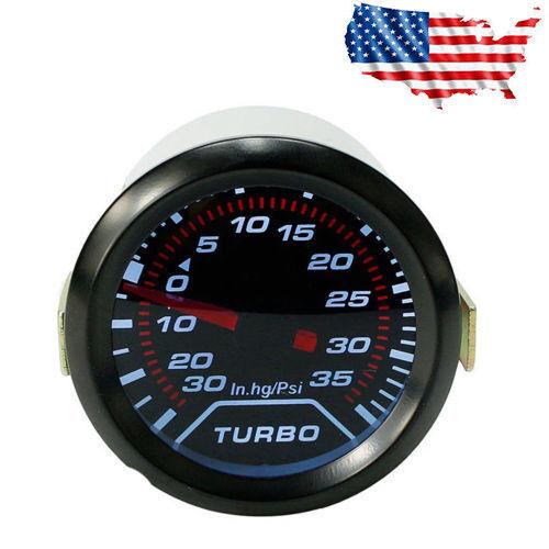 "Universal Auto Turbo Boost Gauge Set 2""//52mm Vacuum/&Press Meter 0-35PSI US Stock"