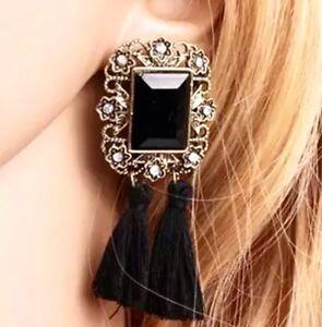 Women-Boho-Hippie-Tassel-Dangle-Earrings-Black