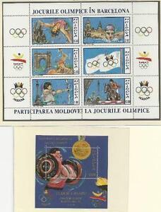 Moldawien-aus-1992-postfrisch-Block-1-2-MiNr-26-30-38-Olympische-Spiele
