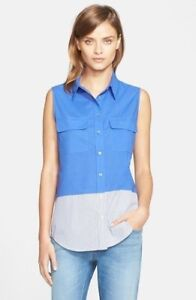 NWT-Equipment-039-Slim-Signature-039-Sleeveless-Top-Blue-NWT-M
