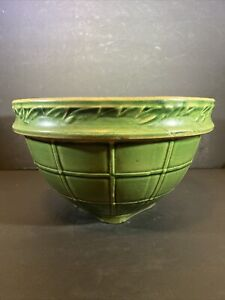 MCCOY LG. GREEN YELLOW WARE Stoneware Ivy Rim MIXING BOWL, 10 inch