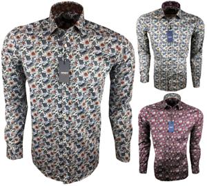 Herren-Hemd-mit-Muster-Drei-Farben-Blumen-Freizeitshirt-Party-97-Baumwolle-M-3XL