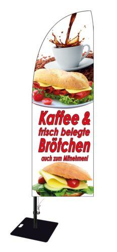 Beachflag Kaffee /& Brötchen ca 300 cm Werbung Bäckerei Fahne Cafe Banner MD006