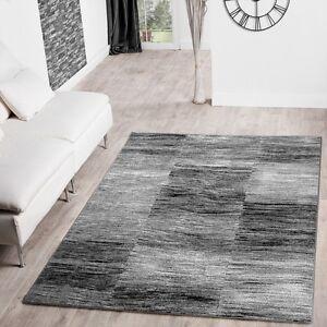 Teppich design grau  Moderner Wohnzimmer Teppich Grau Schwarz Anthrazit Meliert Karo ...