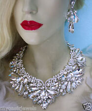 Clear Massive Necklace Earring Set Rhinestone Crystal Pageant Drag Queen Bridal