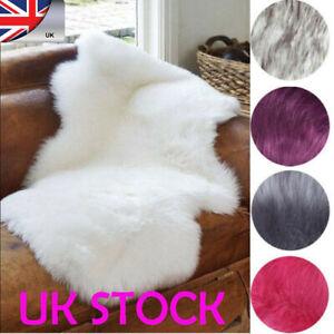 Details About Wool Sheepskin Fluffy Mat Washable Floor Rug Bedroom Carpet Sofa Blanket Rugs Wa