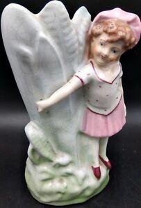 Vintage-6-5-034-Vase-Girl-Figural-Pink-Dress-Planter-Decor-Collectable-Ceramic