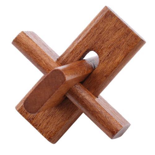 6Pcs Wooden IQ Brain Teaser Kong Ming Lock 3D Interlocking Educational Toys W