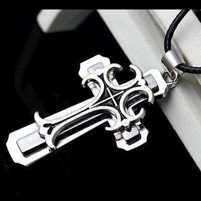 Men's Stainless Steel Black Sliver Cross Pendant Black Leather Chain Necklace MA