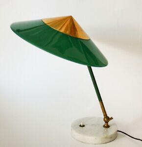 Lampada Da Tavolo Stilux Vintage Anni 50 Design Midcentury Ottone Light Verde Ebay