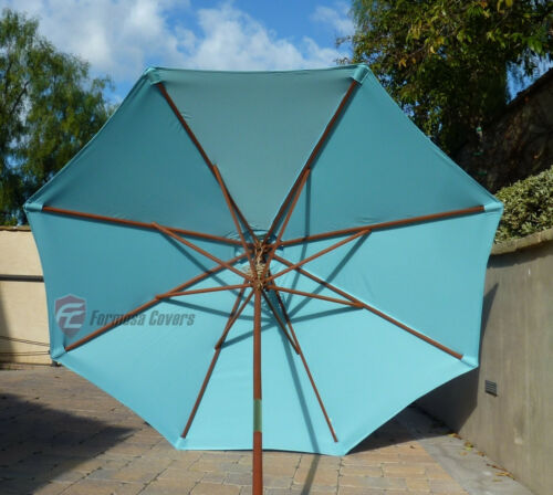 9ft Patio Outdoor Yard Umbrella Replacement Canopy Cover Top 8 Ribs Light Blue