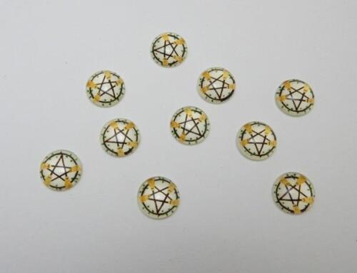 Wiccan Pentagrama escoba Vidrio Cabuchones 12 mm paquete de 10 fabricación de joyas