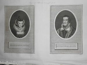 Antiquarian-Engraving-1792-Mary-Queen-of-Scots-Devereux-Earl-of-Essex-History
