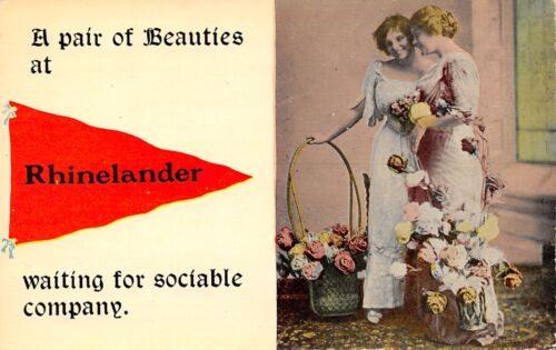 """A Pair of Beauties"" at Rhinelander WisconsinSociable Company1913 Pennant PC"