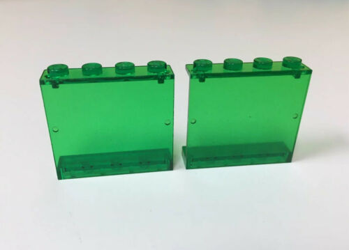 Lego 2x LOT Space Police Trans-Green Panel 1 x 4 x 3 Solid Studs 6957 6984 VTG