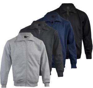 Mens-Long-Sleeve-Top-Sweatshirt-Jacket-Full-Zip-Funnel-Neck-Pull-Over-M-2XL