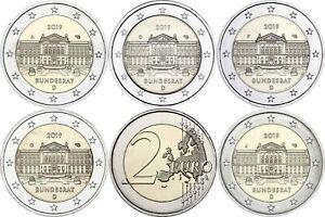 Deutschland-5-x-2-Euro-2019-Bundesrat-mit-Muenzzeichen-A-D-F-G-J-bankfrisch