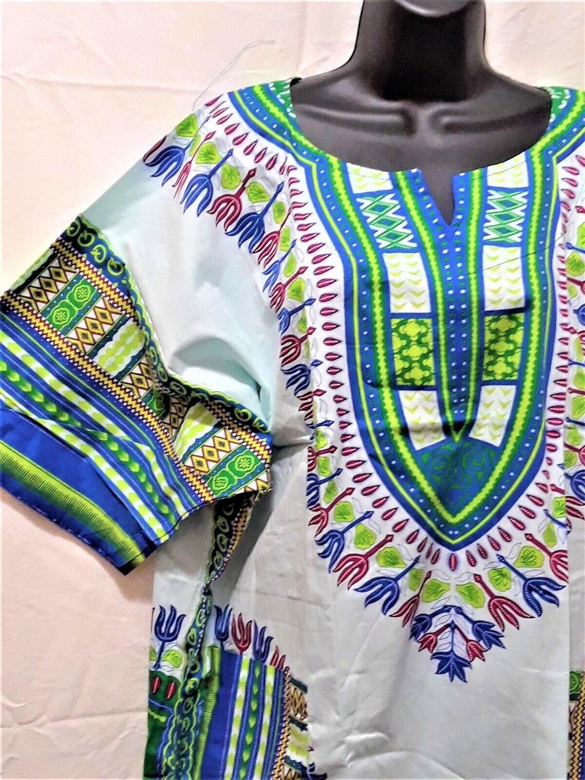Dashiki Men Shirt African Hippie Top Tribal Blouse Caftan Green Blue Pink White