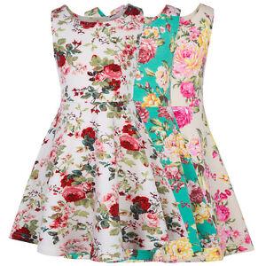 Fleur-Filles-Enfants-soiree-d-039-ete-motif-floral-sans-manches-Ligne-A-court
