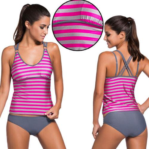 Pink//Grey Striped Tankini Halter Razor Back Bikini Bottom Bathing Suit S-2XL USA