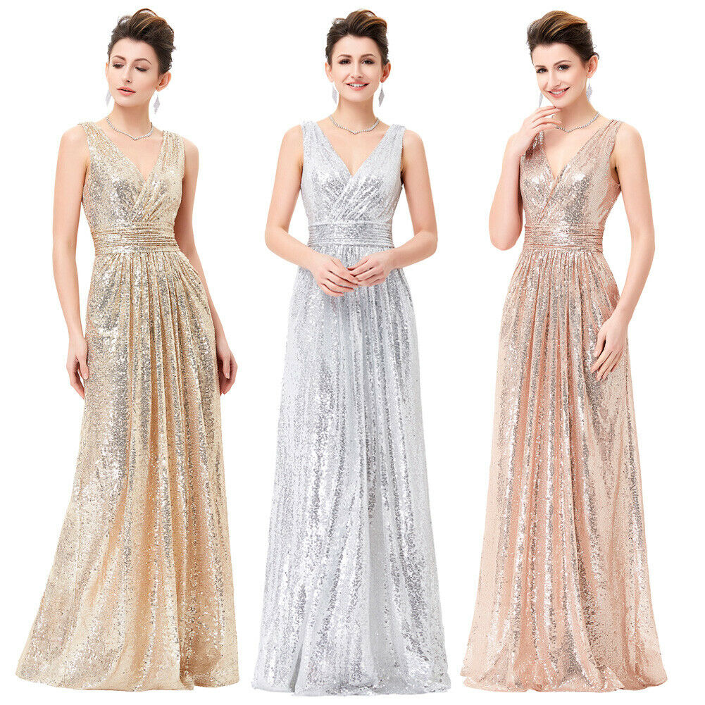 Women gold Shinny Long Formal Evening Dress Pageant Party Prom Wedding Gowns US