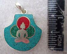 Nice! Tibet Tibetan Buddhist Silver & Turquoise Amulet Buddha