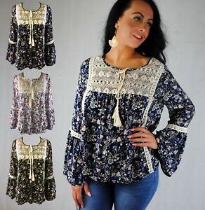 Femmes-Long-Bell-Manche-Boho-Summer-Ditsy-Floral-Top-Crochet-Detail-Bleu-Marine-Noir