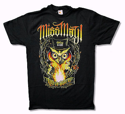 """MISS MAY I """"OWL"""" LET IT BURN BLACK T SHIRT NEW NWT OFFICIAL ADULT"""
