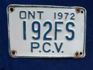 ONTARIO-LICENSE-PLATE-PCV-PERSONAL-CARRIER-VEHICLE-1972-192FS-MAN-CAVE-SIGN