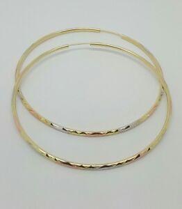 Image Is Loading 14k Tri Color Gold 64mm Hoop Earrings