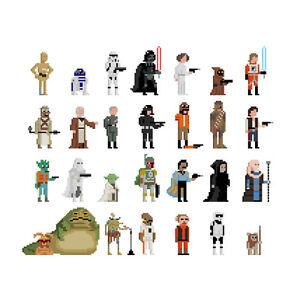 30 Quadrat Star Wars Print By Jim Wird Paint It Pixel Art C3po R2d2
