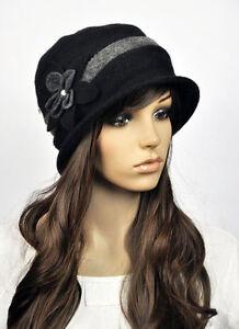 M81 Black Wool Cashmere Cute 2-Tone Flower Women s Winter Hat Cap ... 6e8c76de782