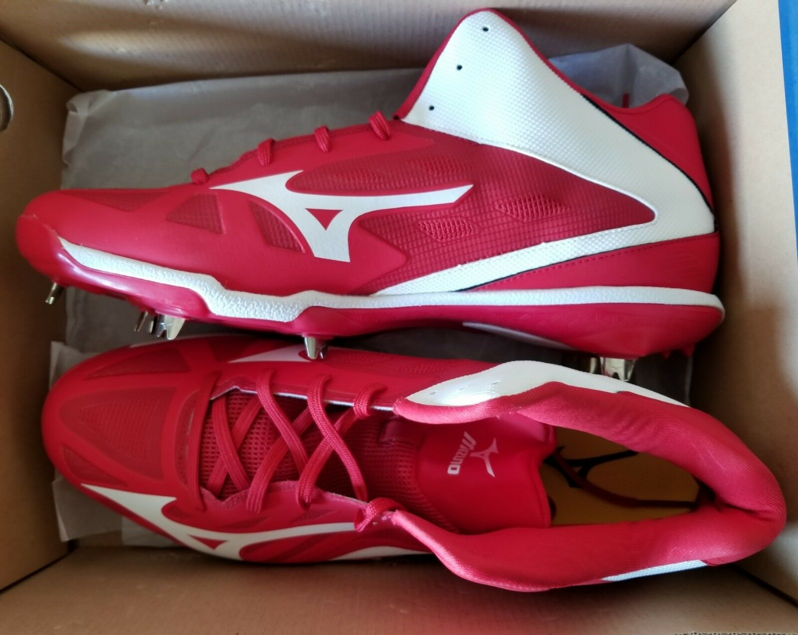 MIZUNO BASEBALL HEIST IQ MID 320500 BASEBALL MIZUNO METAL CLEATS SIZE 16 - ROT - NEW WITH BOX 8060af