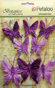 Glittered-FABRIC-Butterflies-LAVENDER-5of-35x40mm-amp-3of-50x60mm-Botanica-Petaloo