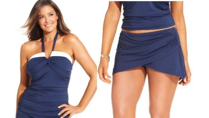 Anne Cole Signature Skirted Tankini Swimsuit 2pc set  Plus size 18W NWT M5.F