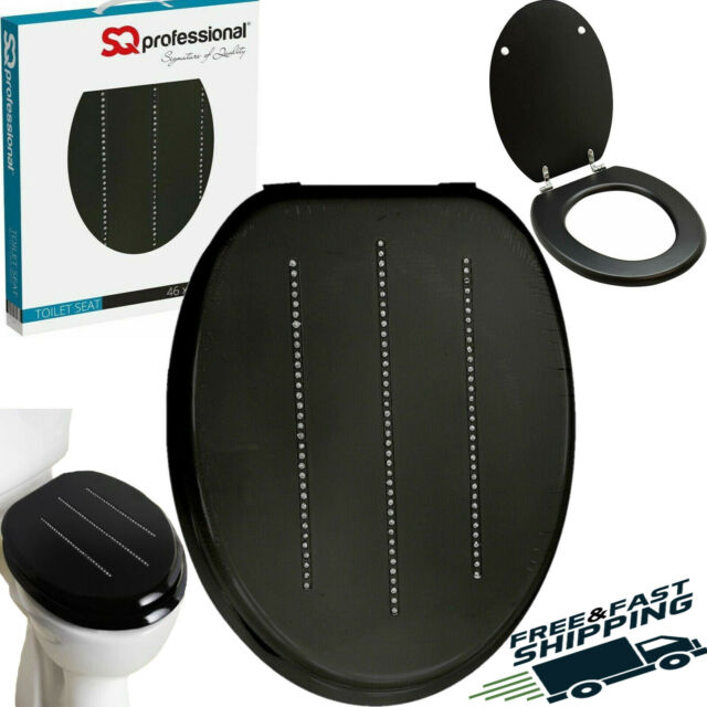Black Wooden MDF Toilet Seat With Zinc Alloy Hinges ...