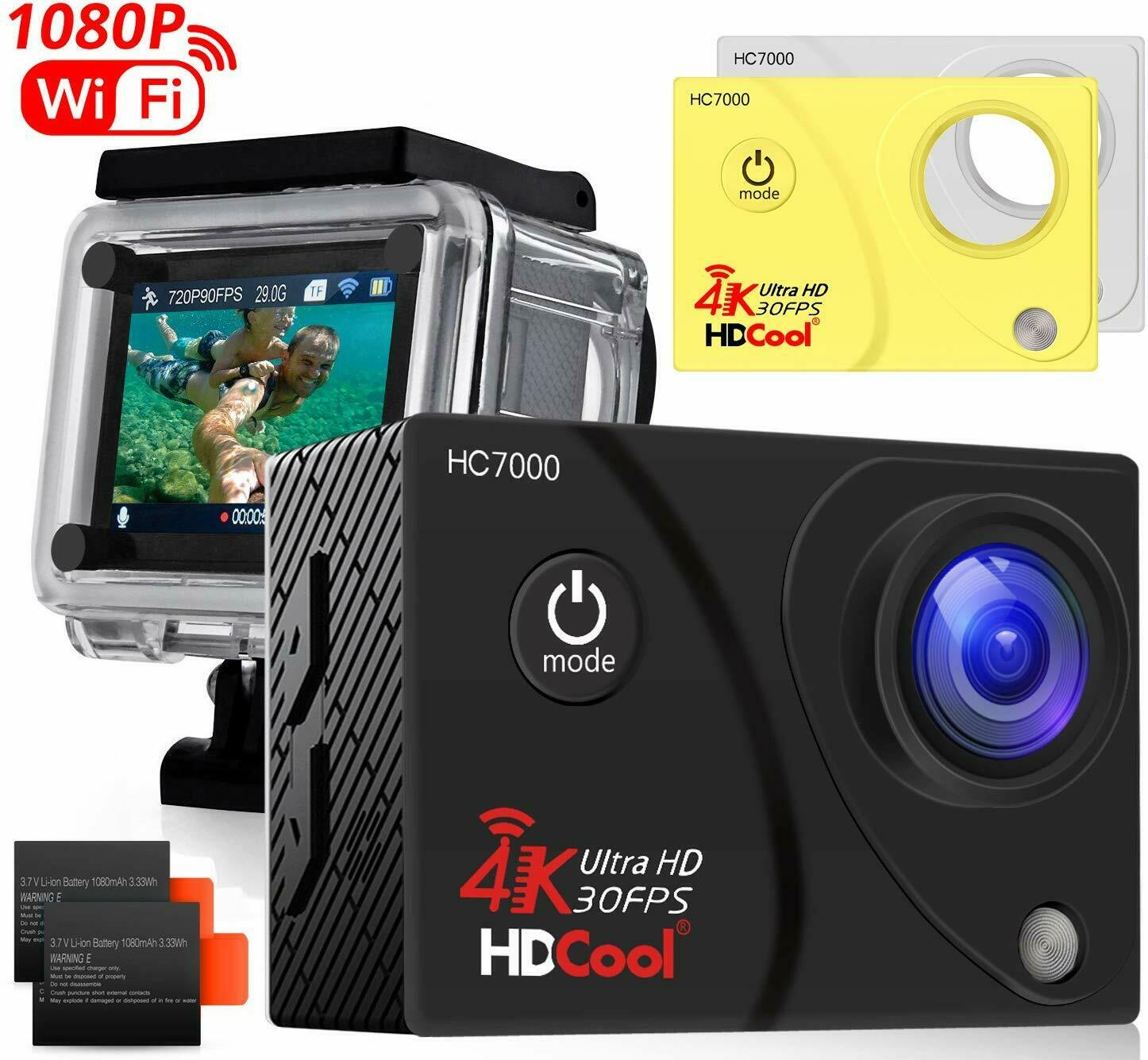 HDCool HC8000 Action Sports Camera 16MP Resolution WiFi Underwater Camera 16mp action camera hc8000 hdcool resolution sports underwater wifi