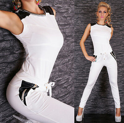 Women's Drawstring Faux Leather Panels Jumpsuit Overall - S/M/L