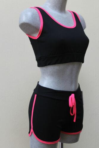 COMPLETO SHORTS TOP pantaloncino corti donna fitness elasticizzati SPORT DANZA
