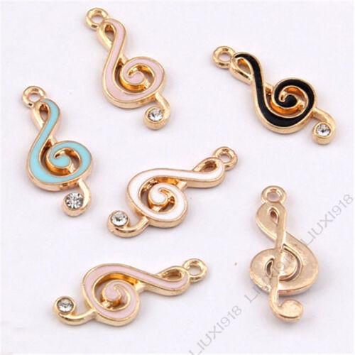 Enamel Gold GP Charm Music Crystal Pendant Jewelry Making Small Pendants V989