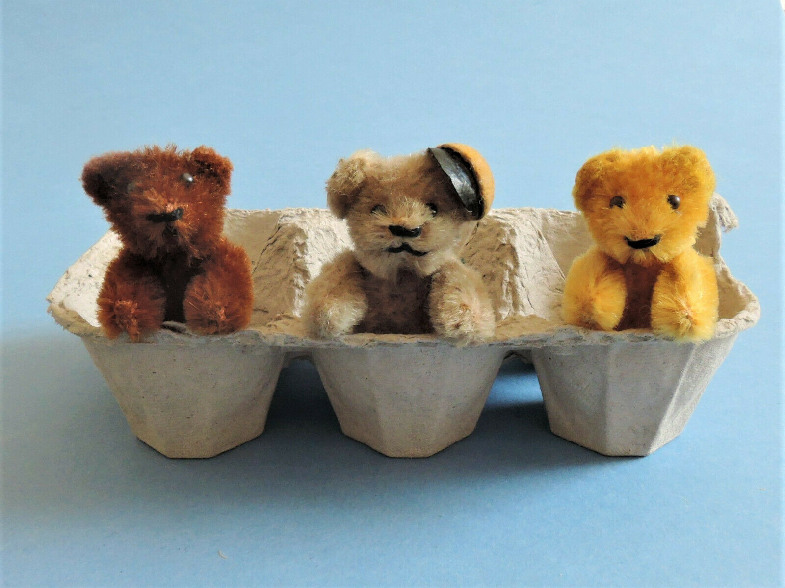 Three Vintage Schuco 2.5  Miniature Bears - 3 Different Colours, One Wearing Cap