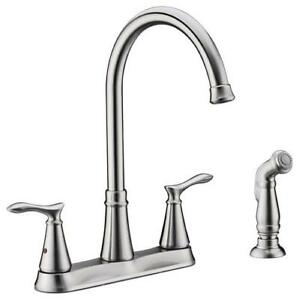 Details About Set Of 2 Modern Kitchen Faucet 9 Spout 2 Handle High Arc 4 Hole 45 Side Spray