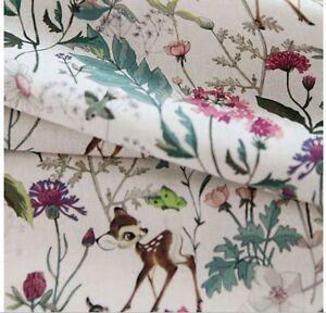 Disney Bambi Botanical Garden Cotton Fabric made in Korea by the Yard