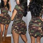 Zanzea Women Camouflage Print Short Sleeve Bodycon Mini Dress Long Tops Shirt