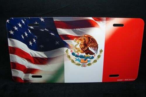 MEXICAN AMERICAN  FLAG METAL NOVELTY LICENSE PLATE FOR CARS   BANDERA MEXICANA