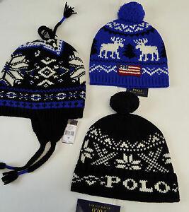 144e00e1947 Polo Ralph Lauren Wool Beanie Cable Knit Hat Cap Snowflake Pom-Pom ...