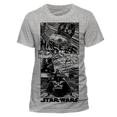 OFFICIAL STAR WARS - COMIC STYLED BLACK PRINT GREY T-SHIRT (NEW)