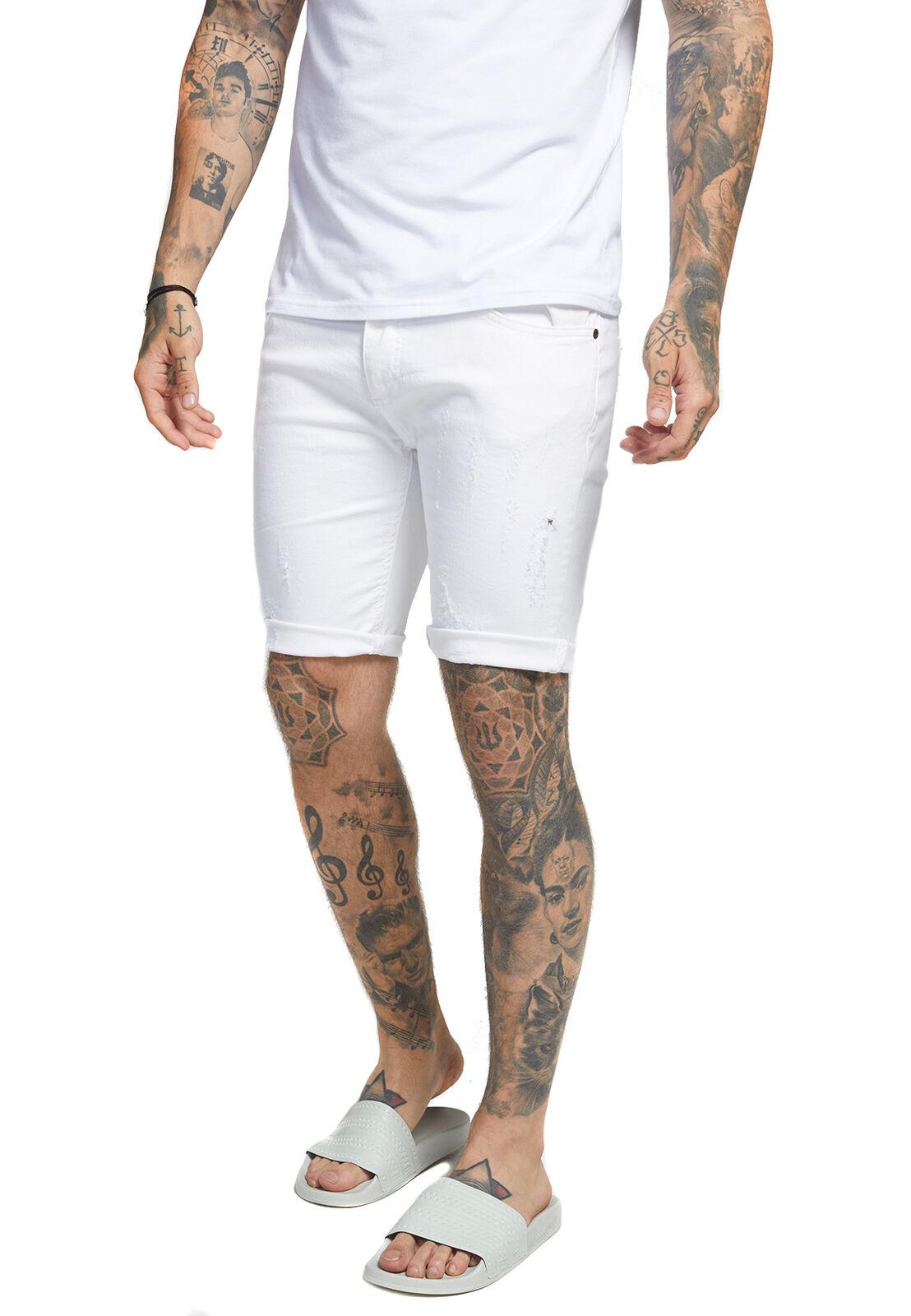 SikSilk Herren Jeans Short DISTRESSED SKINNY SHORTS SS-13009 Weiß