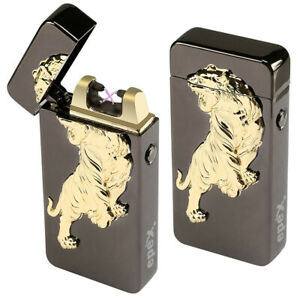 3D Lion USB Electric Dual Arc Flameless Torch Rechargeable Windproof Lighter